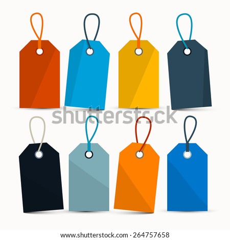 Empty Retro Colorful Vector Labels with Strings Isolated on White Background - stock vector