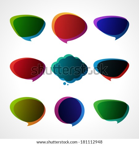 Empty retro speech bubbles set vector illustration
