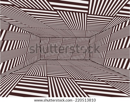 Empty Room Created With Stripes Vector 02 - stock vector