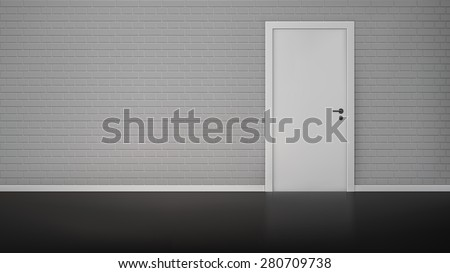Empty room interior with brick wall and closed white door realistic vector illustration - stock vector