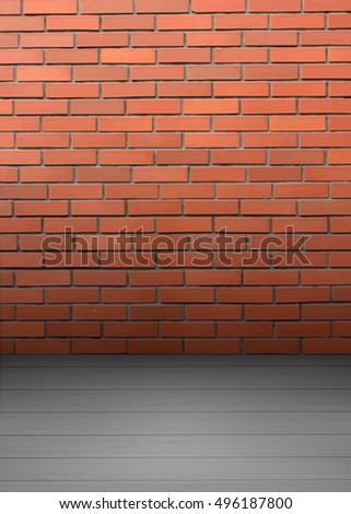 Empty room interior with red brick wall and light wooden floor.Vector background, vector illustration. Template for interior illustration