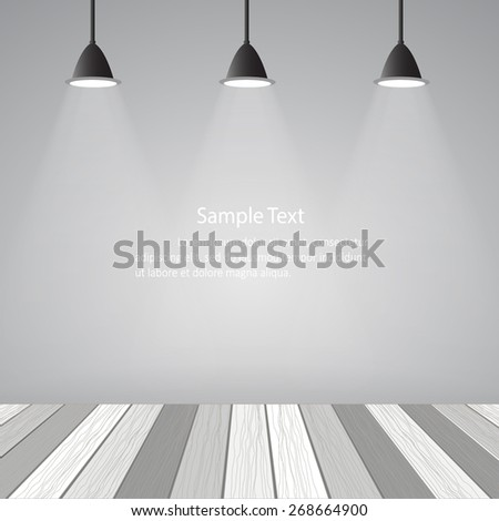 empty room loft style and white wooden floor vector eps10