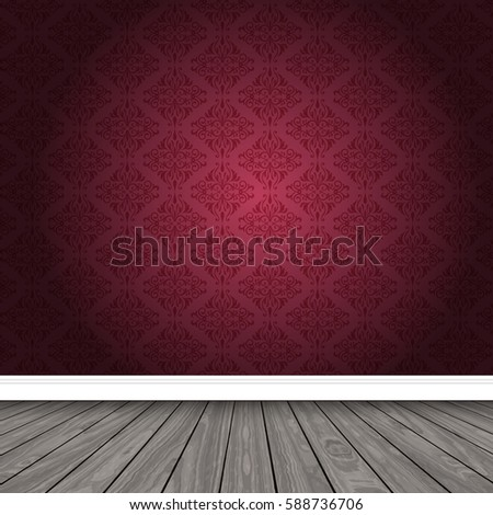 empty room with patterned wallpaper and wooden floor