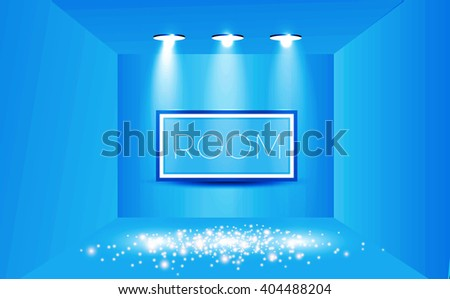 Empty Room with Shining Spotlights & Frame on the Wall. Exhibition Design. Vector illustration - stock vector
