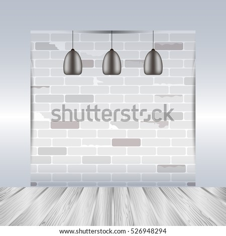 empty room with white brick wall and wooden floor room interior template