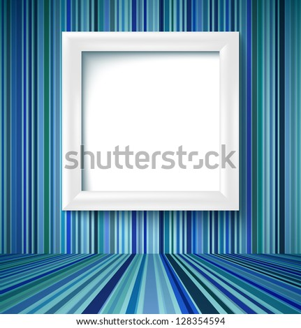 Empty room with white photo frame on striped wallpaper. Vector illustration - stock vector