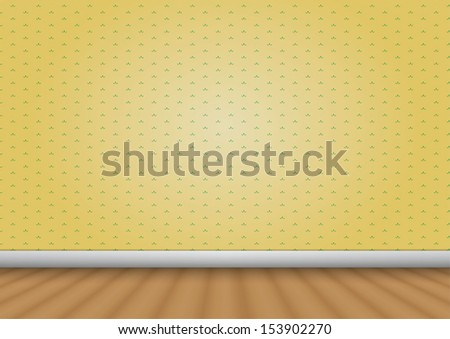 empty room with wood floor and pattern wall vector eps10