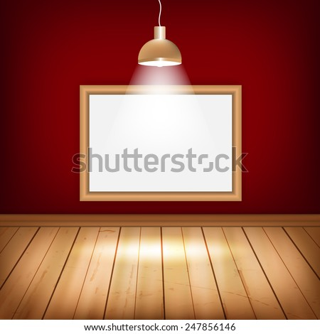 empty room with wooden floor frame and with place for your