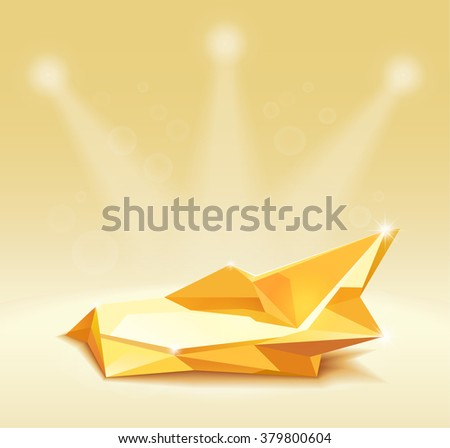 Empty round shelf gold for exhibition in the shape of a star. Backlit. 3d. - stock vector