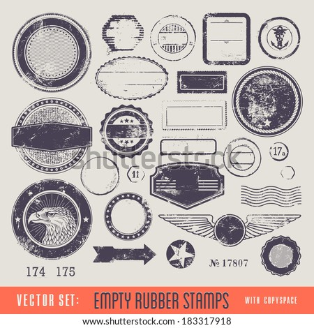 empty rubber stamps with copyspace for your text and/or illustration - stock vector