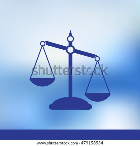 Empty scales on blue background. Flat style. Justice, law, decision, measurement, punishment concept.