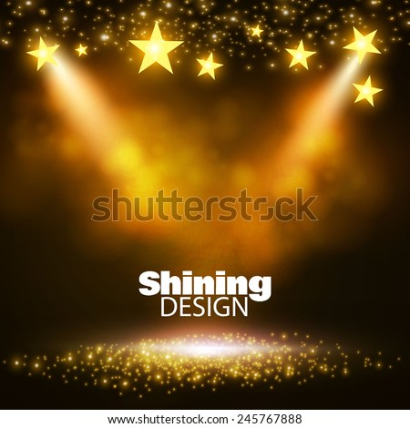 Empty scene with spotlight & colorful lights. Vector illustration - stock vector