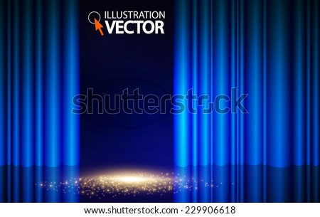 Empty scene with stage curtain. Vector illustration