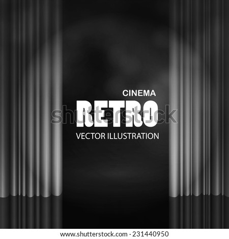 Empty scene with stage curtain. Vector illustration - stock vector