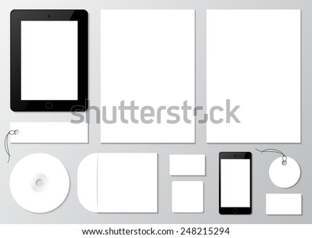 Empty set mockup of firm style and corporate identity elements. Template for branding and identity. Consists of the elements: paper, a4 letterheads, cd, business card, envelope, tablet and phone.  - stock vector