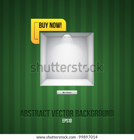 Empty Shelf For Exhibit In The Striped Wall Green With Label Buy Now! - stock vector