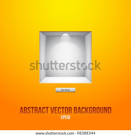 Empty Shelf For Exhibit In The Wall Orange Yellow EPS10 - stock vector