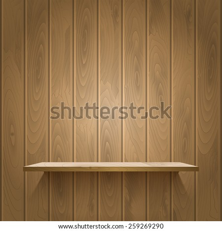 Empty shelf on the wooden wall,  illuminated with reflector light, vector illustration