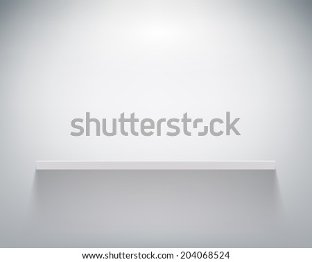 empty shelf on white wall - stock vector