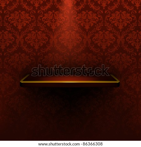 Empty shelf, red luxury