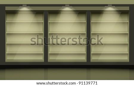 Empty shelves, illuminated by searchlights.  Vector interior. - stock vector