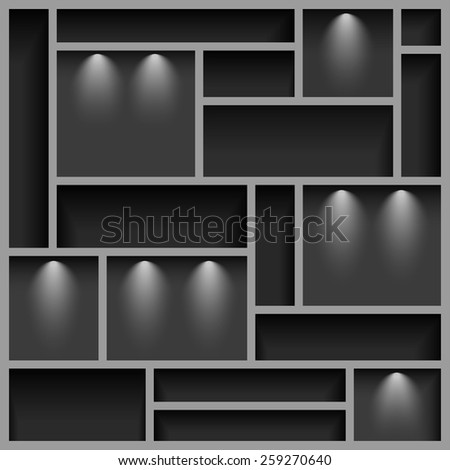 Empty shelves  illuminated with reflector light, gray colored, vector illustration, 10eps - stock vector