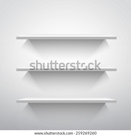 Empty shelves in gray colors, vector illustration, 10eps