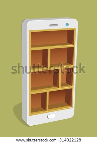 Empty shelves inside a smart phone. Vector concept,