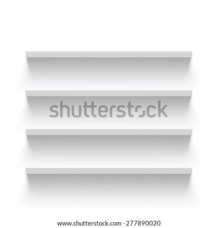 Empty shelves on a white wall. Vector Image. - stock vector
