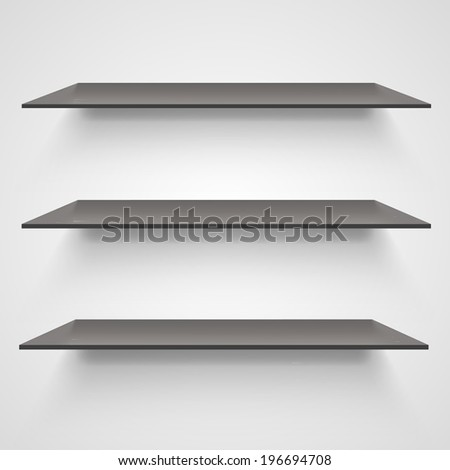 Empty shelves on light grey background. Vector illustration - stock vector