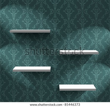 Empty shelves on the wall with ornamental wallpaper - stock vector