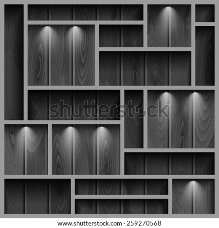 Empty shelves on the wooden wall in gray colors,  illuminated with reflector light, vector illustration - stock vector