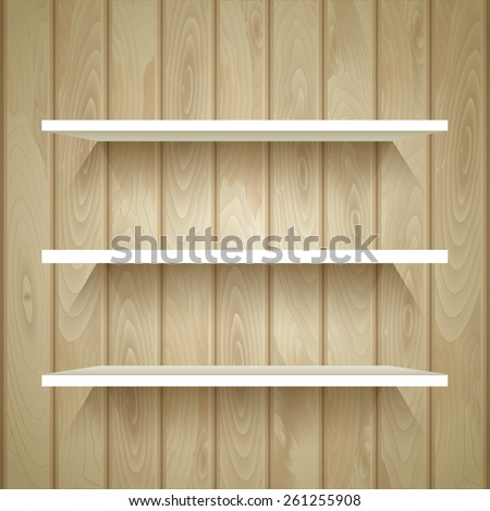 Empty shelves on the wooden wall,  vector illustration - stock vector