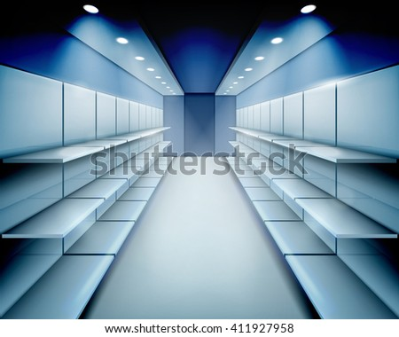 Empty shelves. Vector illustration. - stock vector