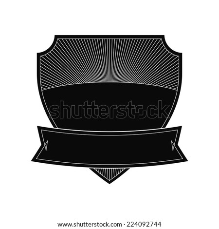 Empty shield label template - stock vector