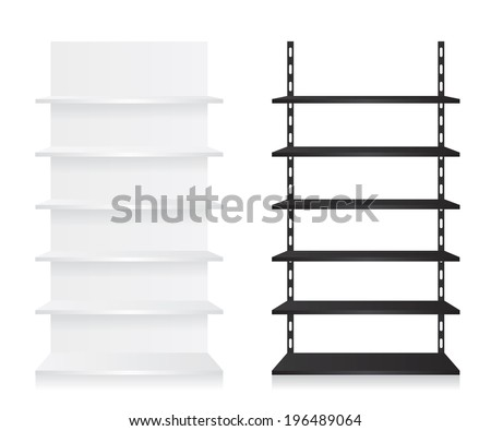 Empty shop shelves black and white - stock vector