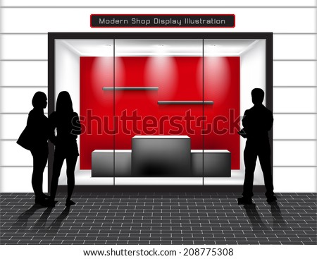 Empty Shop with glass windows and peoples, front view. - stock vector