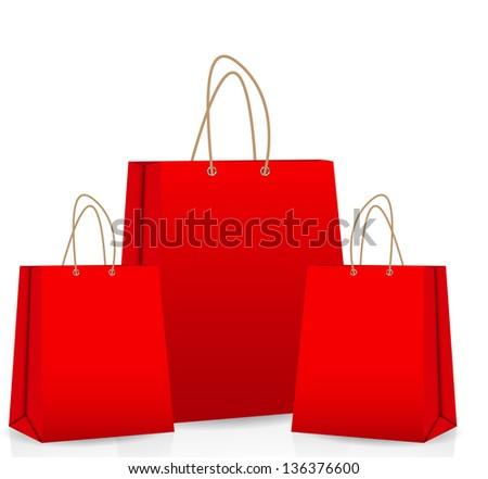 Empty Shopping Bag  for advertising and branding vector illustration - stock vector
