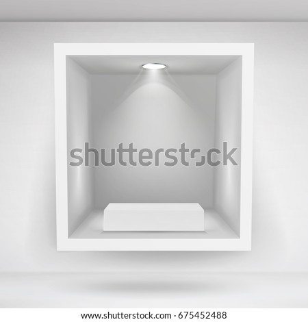 Empty Showcase, Niche Vector. Abstract Clean Empty Shelf, Niche In The Wall. Good For Presentations. Podium To Display Your Product
