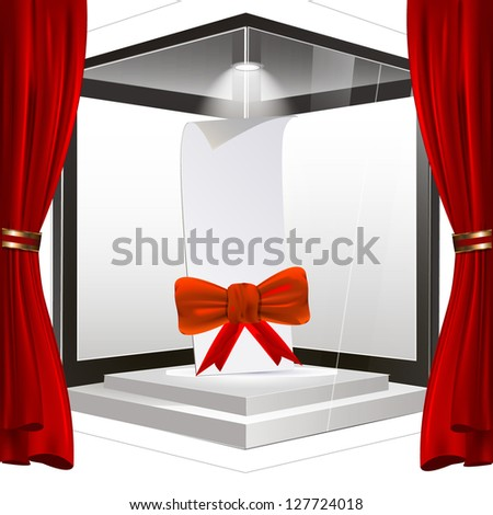 Empty showcase with a bow and a note or storefront to place your object. vector design - stock vector