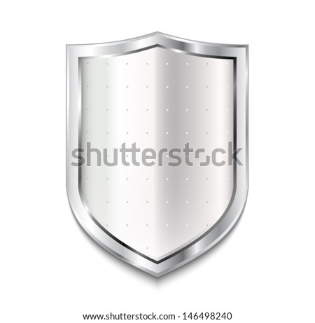 empty silver shield / vector illustration eps 10 - stock vector