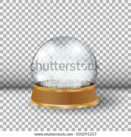 Empty Snow Globe. Big white transparent glass sphere on a stand
