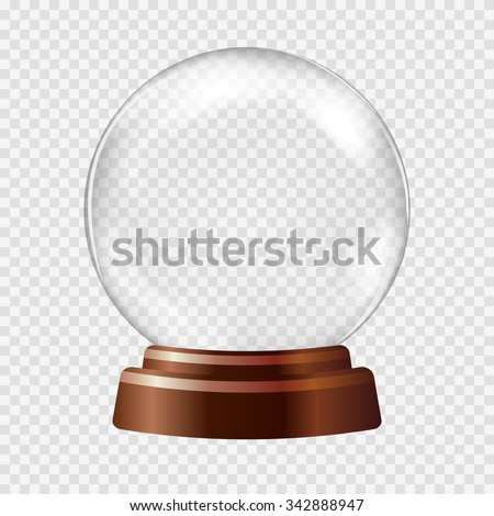 Empty Snow Globe. Big white transparent glass sphere on a stand with glares and highlights. Vector illustration contains gradients and effects. Winter christmas background for your design and business