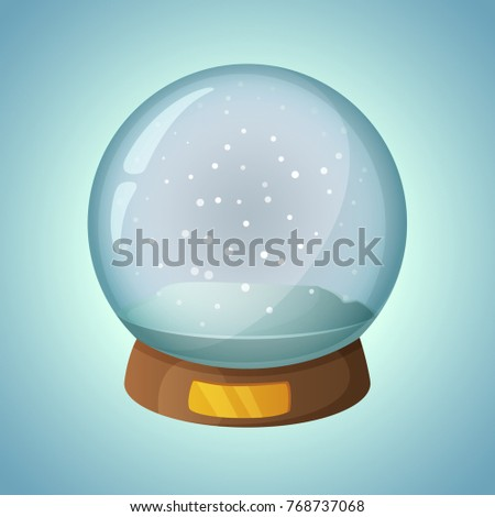 Empty Snow globe cartoon style object. Vector illustration