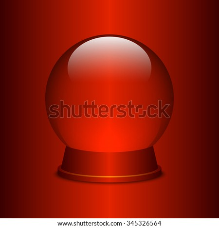 Empty snow globe on red background. Christmas snow globe. Glass sphere. Transparent ball. Realistic vector. 3d vector. Vector illustration. - stock vector