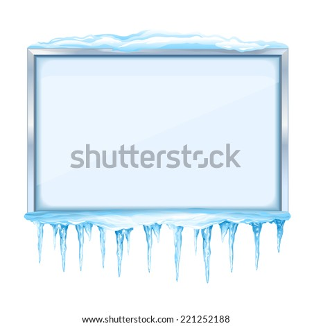 Empty snowy winter bulletin board with icicles and metal frame, eps10 isolated - stock vector