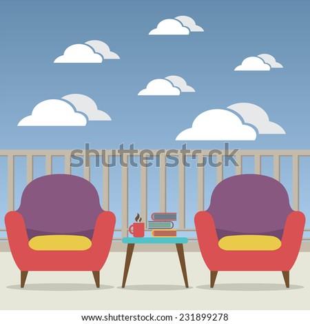 Empty Sofa Interior Set At Balcony Vector Illustration - stock vector