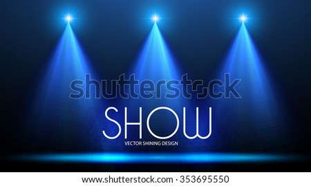 Empty Space with Spotlights. Show Design. Elegant Presentation. Vector illustration - stock vector