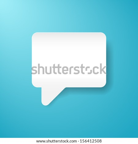 Empty speech bubble icon. Blank shape with black shadow on blue background. White web button chat room sign. Clip-art vector illustration element for design 10 eps  - stock vector