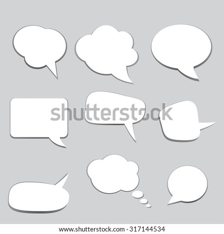 Empty speech bubbles for text communication. Poster.